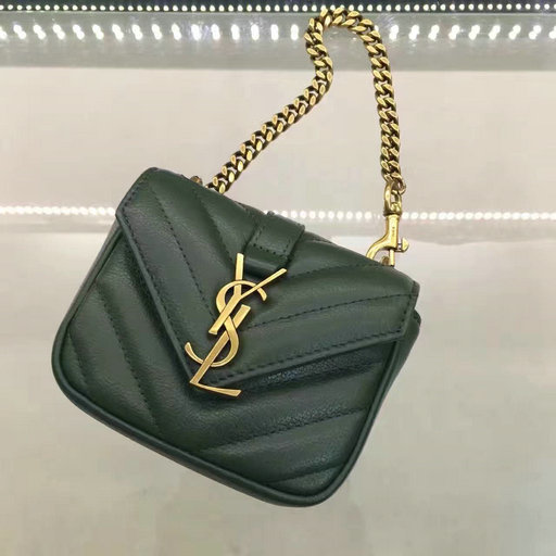 Saint Laurent Autumn/Winter 2016-2017 Collection-Monogram Mini Coin Chain Bag in Green Matelasse Leather