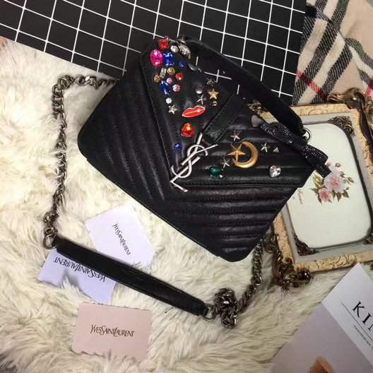 Saint Laurent A/W 2016-2017 Collection-Medium College Studded Bag with Multicolor Crystal