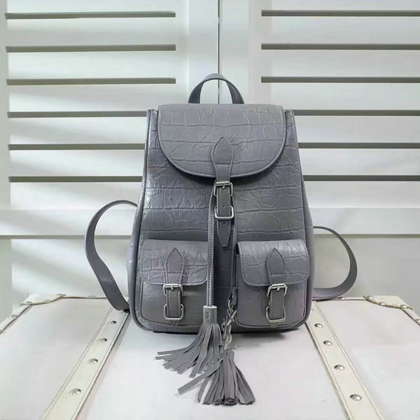 Limited Edition!2016 New Saint Laurent Bag Cheap Sale-Saint Laurent Festival Backpack in Grey Crocodile Embossed Leather