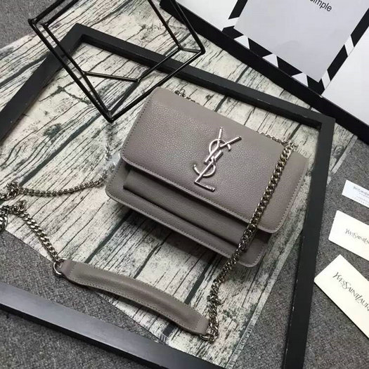 Limited Edition!2016 Saint Laurent Bags Cheap Sale-Saint Laurent Small Sunset Monogram Satchel in Grey Grained Leather