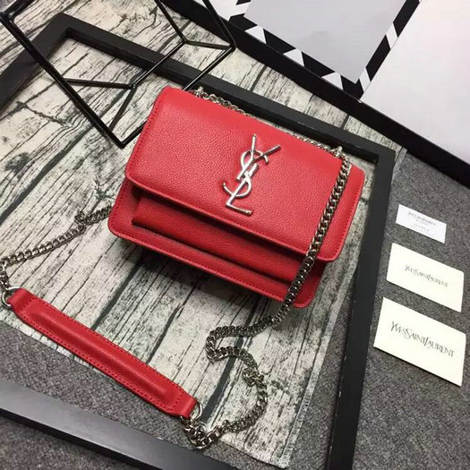 Limited Edition!2016 Saint Laurent Bags Cheap Sale-Saint Laurent Small Sunset Monogram Satchel in Red Grained Leather
