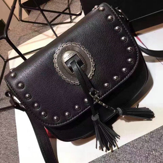 Limited Edition!2016 Saint Laurent Bags Cheap Sale-Saint Laurent Kim Studded Leather Cross Bag in Black Leather