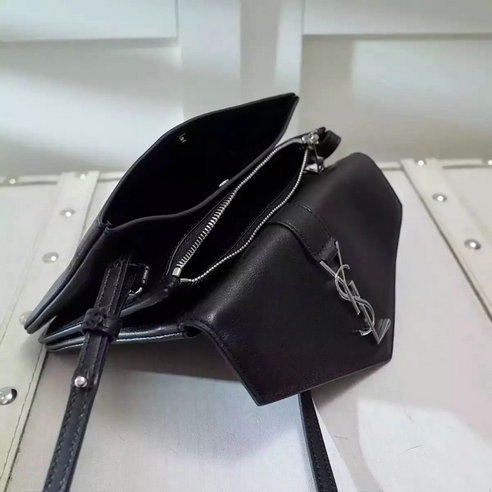 Limited Edition!2016 New SAINT LAURENT YSL Tri-Pocket Bag in Black Leather