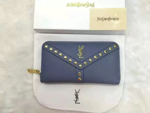 2016 Cheap Saint Laurent Wallets Outlet-Y Studs Zip Around Wallet in Blue Leather