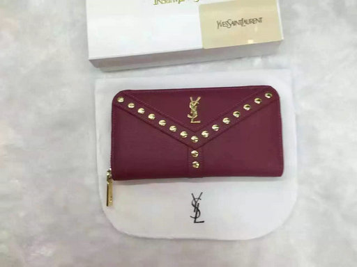 2016 Cheap Saint Laurent Wallets Outlet-Y Studs Zip Around Wallet in Burgundy Leather