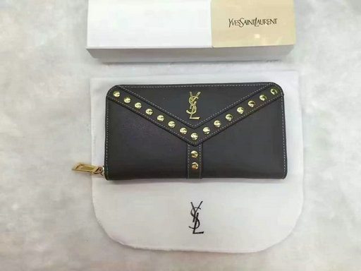 2016 Cheap Saint Laurent Wallets Outlet-Y Studs Zip Around Wallet in Grey Leather