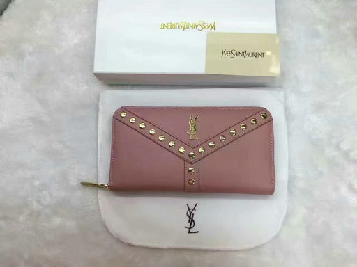 2016 Cheap Saint Laurent Wallets Outlet-Y Studs Zip Around Wallet in Pink Leather