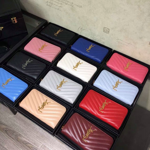 2016 Cheap YSL Wallets Outlet Sale with Free Shipping-Saint Laurent Monogram Zip Around Wallet in Matelasse Textured Leather