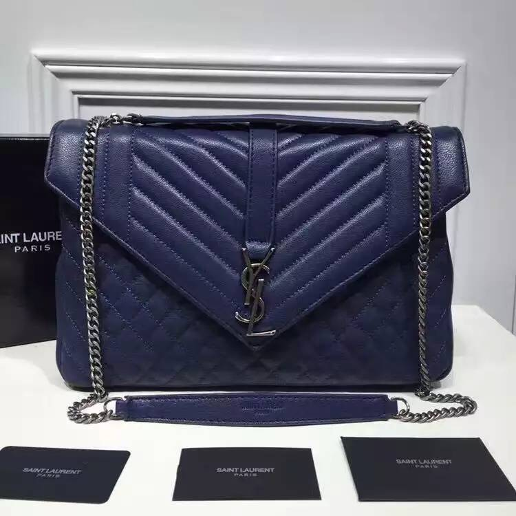 Saint Laurent Large Monogram Envelope Satchel in Blue Mixed Matelasse Leather