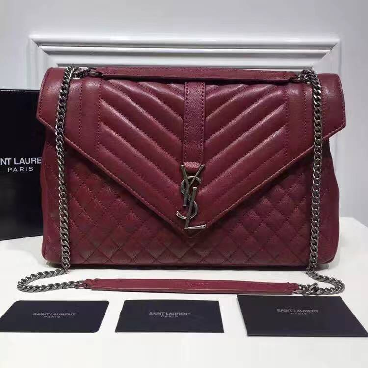 Saint Laurent Large Monogram Envelope Satchel in Red Mixed Matelasse Leather