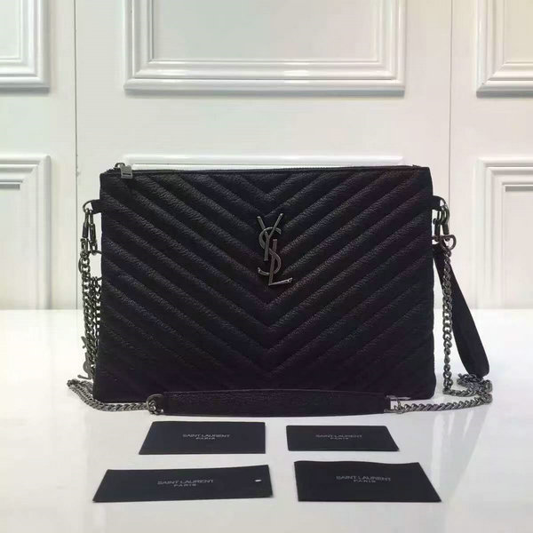 2016 A W YSL Bags Sale-Saint Laurent Large Pouch Wallet in Black Matelasse 1ef0bf0c37ec9