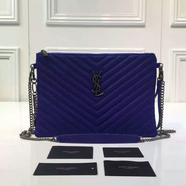 2016 A/W YSL Bags Sale-Saint Laurent Large Pouch Wallet in Blue Matelasse Leather