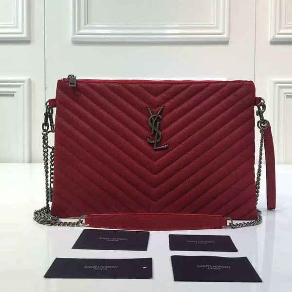 2016 A/W YSL Bags Sale-Saint Laurent Large Pouch Wallet in Red Matelasse Leather