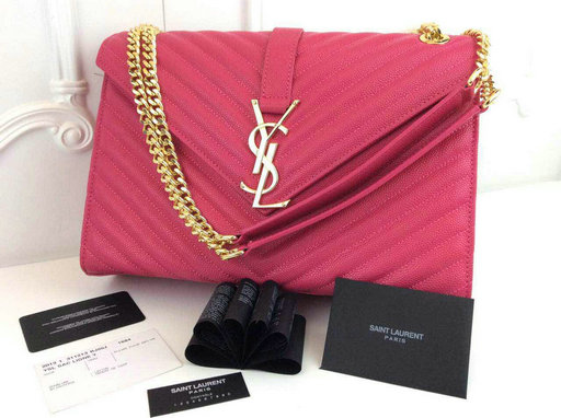 Classic Saint Laurent Monogramme Satchel in Hot Pink Grain de Poudre Textured Leather