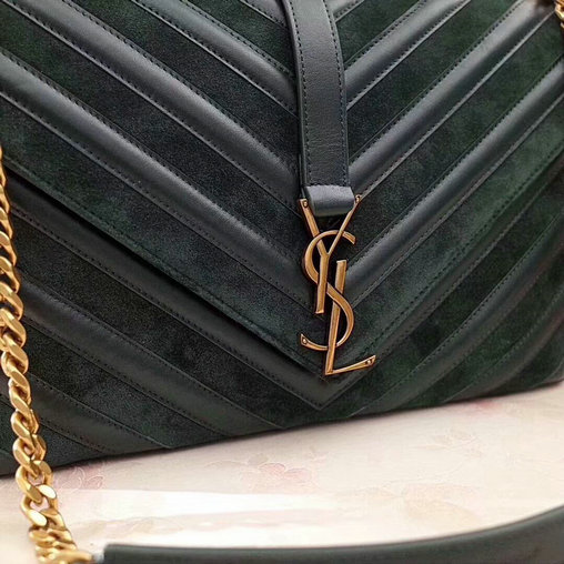 2017 F/W Saint Laurent Large Monogramme College Bag in Dark Green Leather&Suede Patchwork