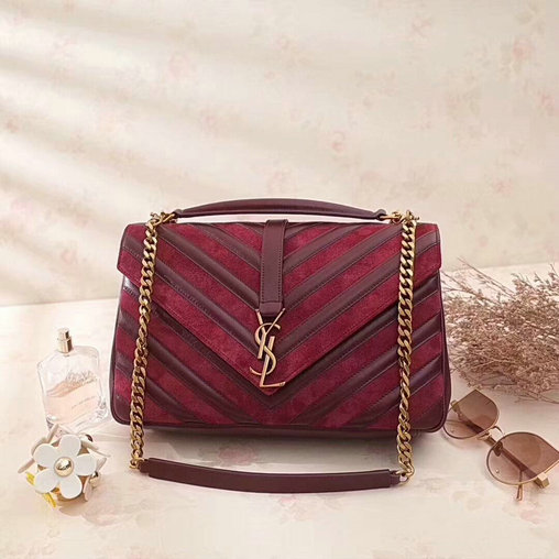 2af558ce4c 2017 F W Saint Laurent Large Monogramme College Bag in Dark Red  Leather Suede Patchwork