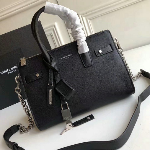 2017 Saint Laurent Baby Sac De Jour Duffle Bag in Black Grained Leather