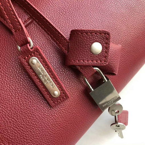 2017 Saint Laurent Baby Sac De Jour Duffle Bag in Dark Red Grained Leather