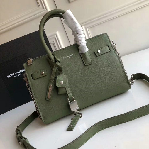 2017 Saint Laurent Baby Sac De Jour Duffle Bag in Green Grained Leather