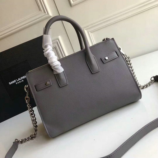 2017 Saint Laurent Baby Sac De Jour Duffle Bag in Grey Grained Leather