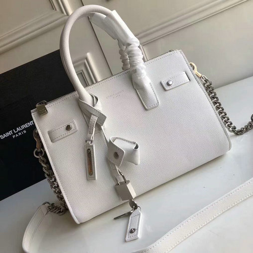 2017 Saint Laurent Baby Sac De Jour Duffle Bag in White Grained Leather