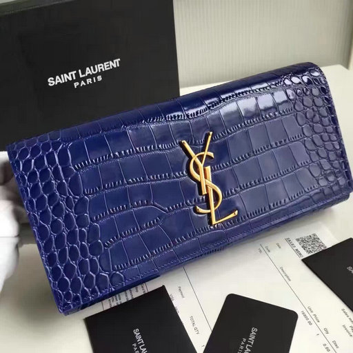 2017 New Saint Laurent Bag Sale-YSL Classic Monogram Clutch in Embossed Crocodile Leather
