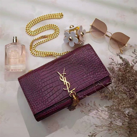 YSL Spring/Summer 2017 Bags Collection-Classic Saint Laurent Monogramme Tassel Satchel in purple crocodile embossed leather