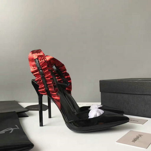 YSL Summer 2017 Collection-Saint Laurent Edie 110 Leaf Slingback Pump in Red+Black