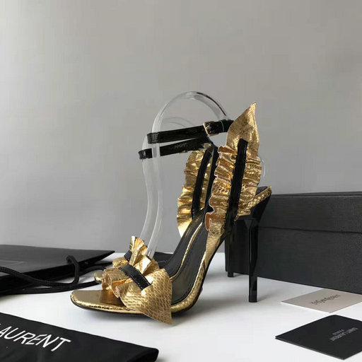 YSL Summer 2017 Collection-Saint Laurent Edie 110 Leaf Slingback Sandal in Gold+Black