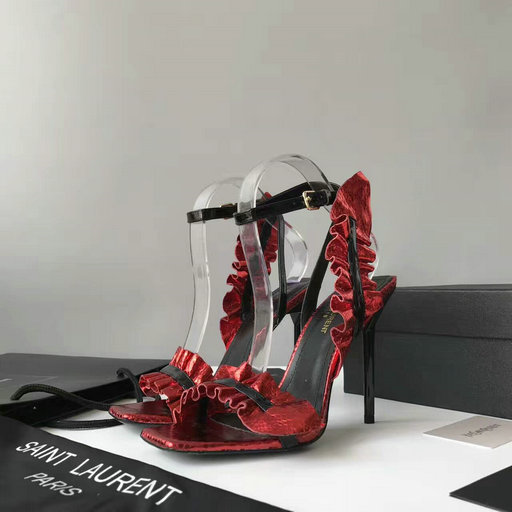 YSL Summer 2017 Collection-Saint Laurent Edie 110 Leaf Slingback Sandal in Red+Black