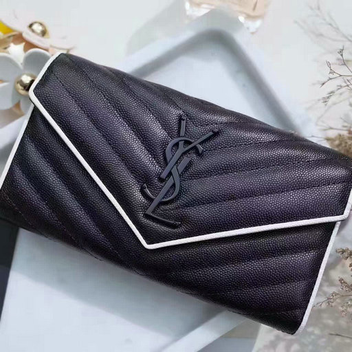2017 Spring Saint Laurent Large Monogram Flap Wallet in Black and Dove White Grain de Poudre Textured Matelasse Leather