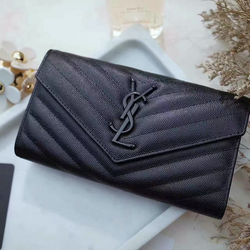 2017 Spring Saint Laurent Large Monogram Flap Wallet in Black Grain de Poudre Textured Matelasse Leather