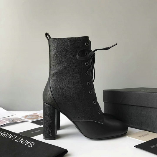 2017 New Saint Laurent Loulou Lace-Up Boot in Black Grained Leather