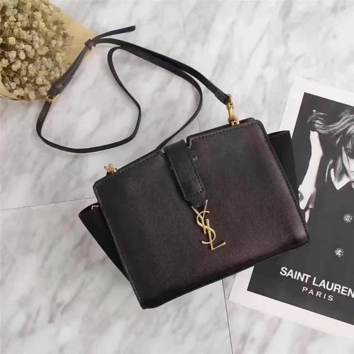 2017 Spring Saint Laurent Mini Toy Cabas Bag in Black Calf Leather & Suede