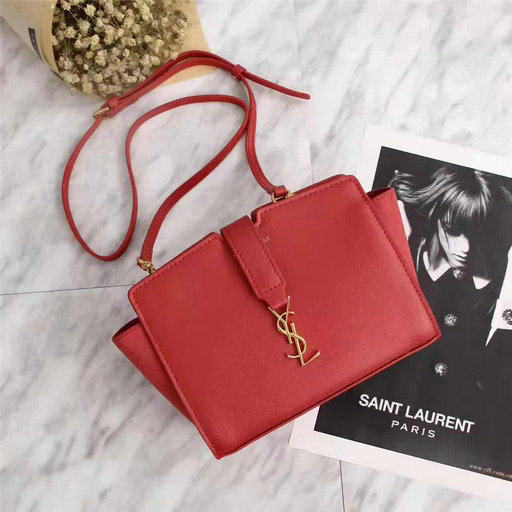 2017 Spring Saint Laurent Mini Toy Cabas Bag in Red Calf Leather & Suede