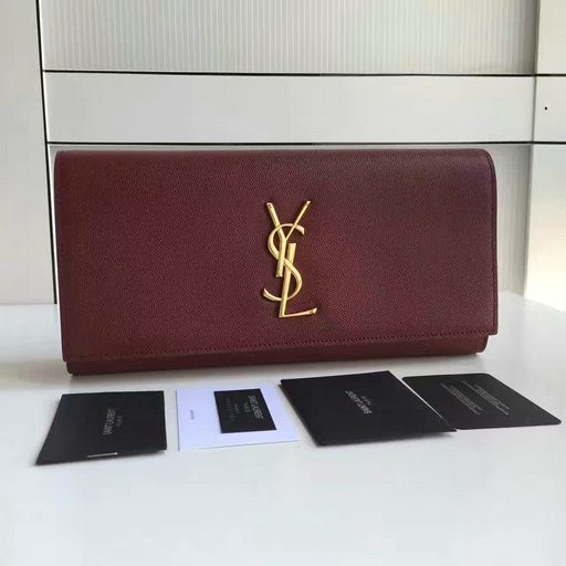 2017 New Saint Laurent Bag Sale-YSL Classic Monogram Clutch in Burgundy Grain de Poudre Textured Leather