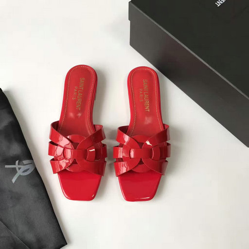 YSL Summer 2017 Collection-Saint Laurent Nu Pieds 05 Strappy Sandal in Red patent leather with intertwining straps