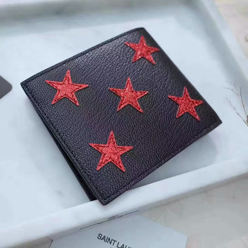 2017 Men's Saint Laurent Rider California East/West Wallet in Black and Red Grained Metallic Leather