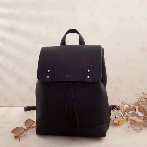 2017 A/W Saint Laurent Sac De Jour Souple Backpack in Black Grained Leather