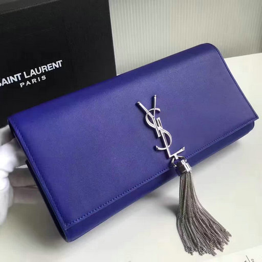 2017 New Saint Laurent Bag Sale-YSL Tassel Clutch in Blue Calf Leather and Silver-Toned Metal