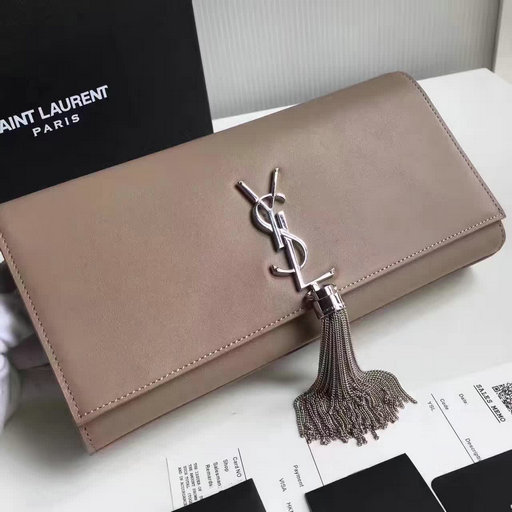 2017 New Saint Laurent Bag Sale-YSL Tassel Clutch in Taupe Calf Leather and Silver-Toned Metal