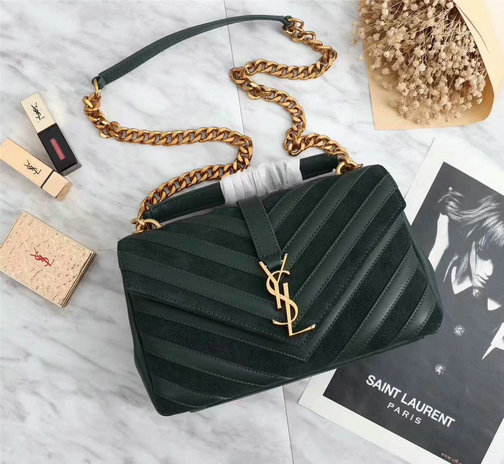 2017 F W Saint Laurent Medium Monogramme College Bag in Dark Green  Leather Suede Patchwork e8a0e6204cdfc