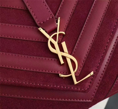 2017 F/W Saint Laurent Medium Monogramme College Bag in Dark Red Leather&Suede Patchwork