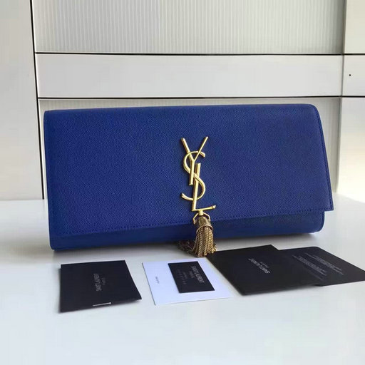 2017 New Saint Laurent Bag Sale-YSL Classic Monogram Clutch in Blue Grain de Poudre Textured Leather