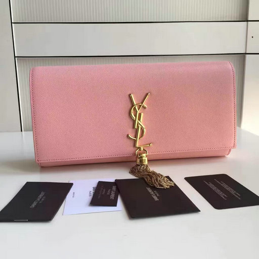 2017 New Saint Laurent Bag Sale-YSL Classic Monogram Clutch in Pink Grain de Poudre Textured Leather