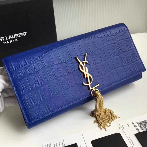 2017 New Saint Laurent Bag Sale-YSL Classic Tassel Clutch in Blue Embossed Crocodile Leather