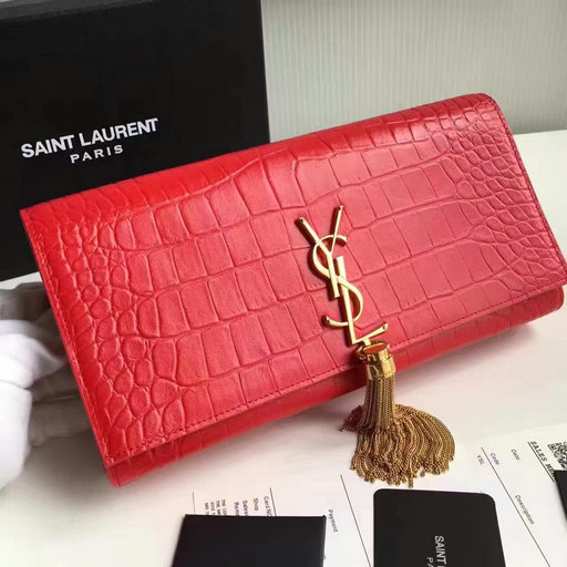 2017 New Saint Laurent Bag Sale-YSL Classic Tassel Clutch in Red Embossed Crocodile Leather