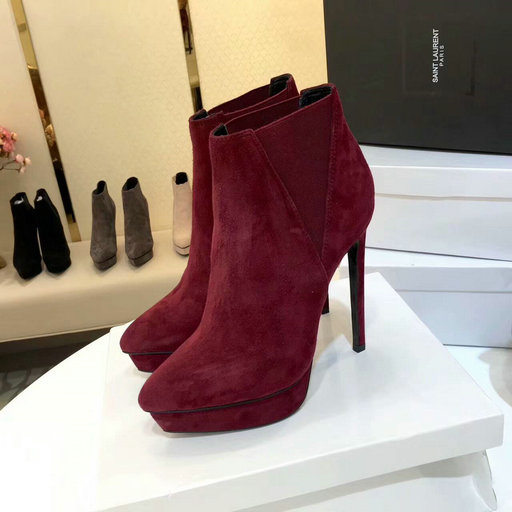 2017 New Saint Laurent Ankle Boot in Burgundy Suede