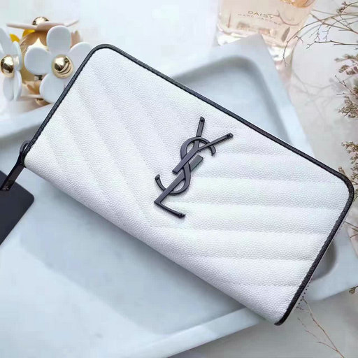 2017 Spring Saint Laurent Monogram Zip Around Wallet in Dove White and Black Grain de Poudre Textured Matelasse Leather