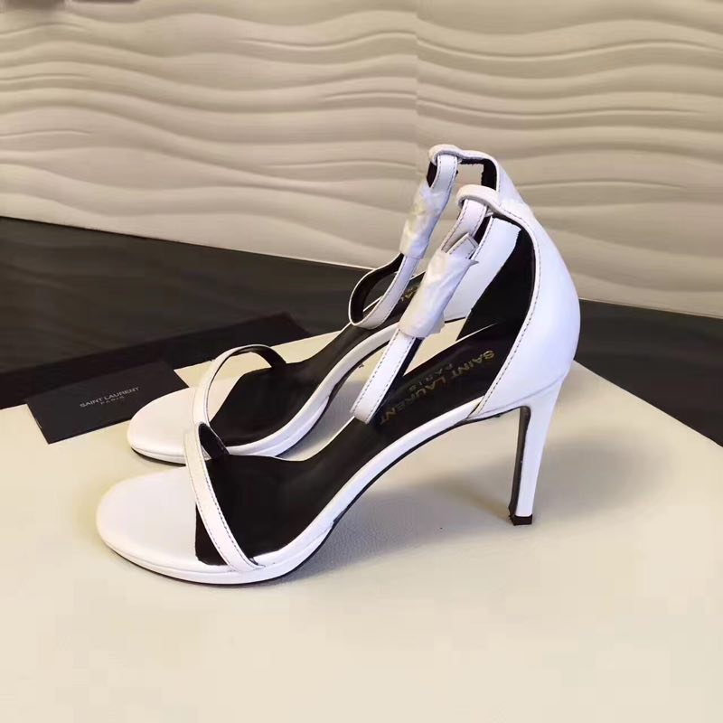 2017 New Saint Laurent Amber Ankle Strap Sandal in White Leather